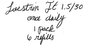 Loestrin FE, 1.5/30 once daily, 1 pack, 6 refills