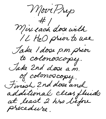 MoviPrep #1, Mix each dose with 1 L H2O prior to use. Take 1 dose p.m.  prior to colonoscopy. Take 2nd dose a.m. of colonoscopy. Finish 2nd dose and additional clear fluids at least 2 hrs before  procedure.