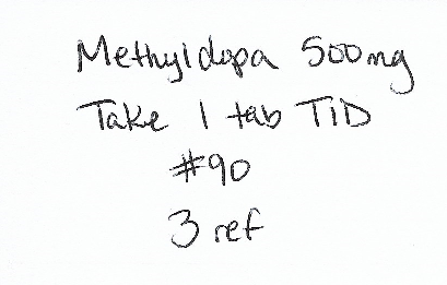 Methyldopa 500 mg, Take 1 tab TID, #90, 3 ref