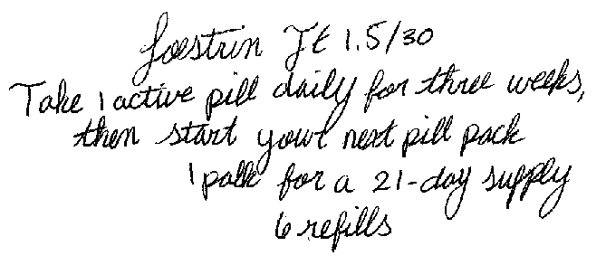Loestrin FE 1.5/30, Take 1 active pill daily for three weeks, then start your next pill pack, 1 pack for a 21-day supply, 6 refills